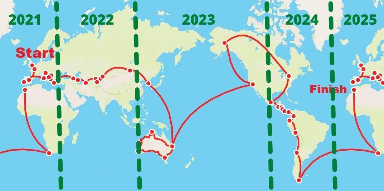 Round the world timeline