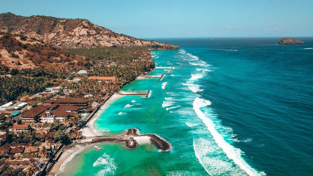 coastline in Bali by drone