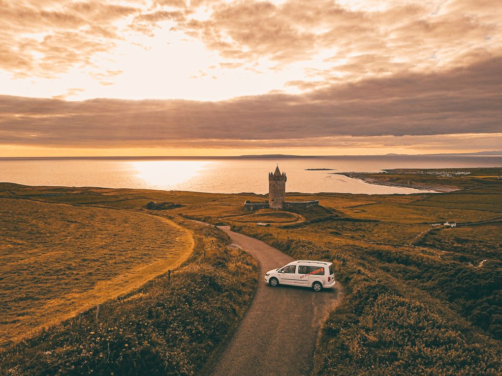 Ireland castle sunset by drone