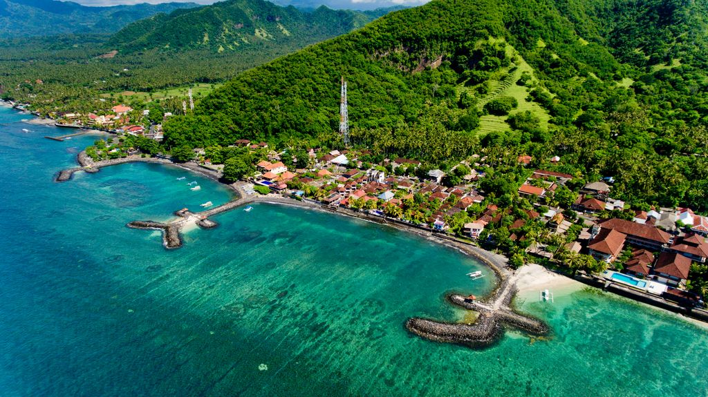 Aerial view of the beautiful bay in Candidasa Beach, Bali, Indonesia.