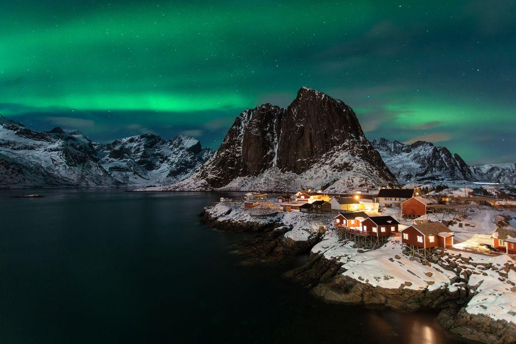 Northern lights Lofoten island