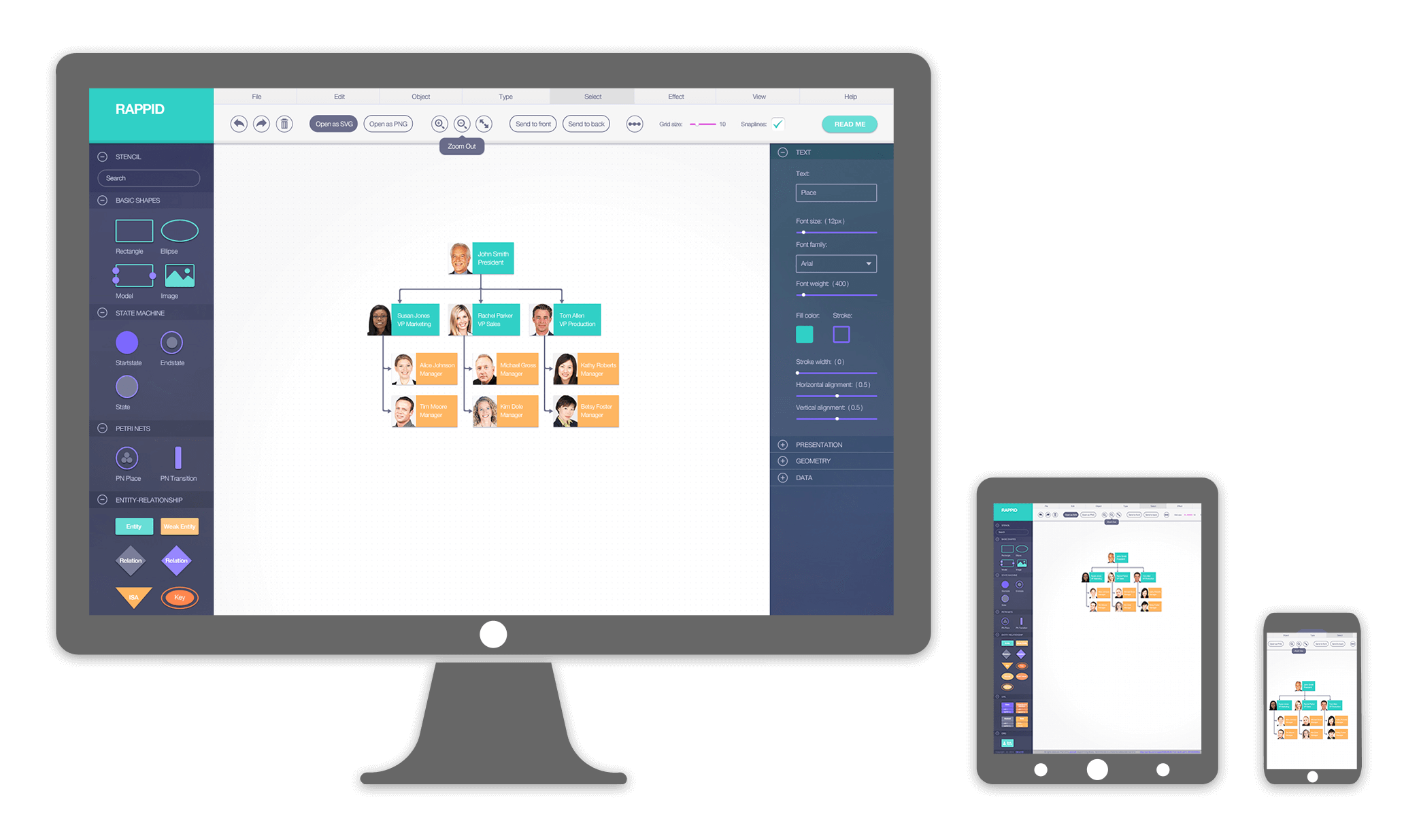 Rappid diagramming framework and its compatible with all major javascript frameworks including ccuart Images