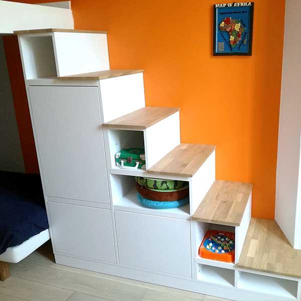 meuble escalier bois découpe