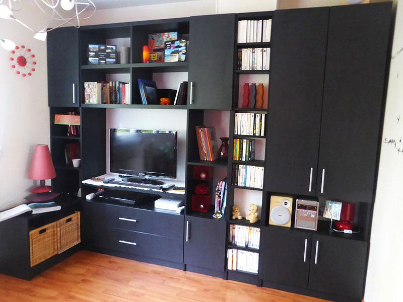 Ensemble meuble tv-living noir sur mesure