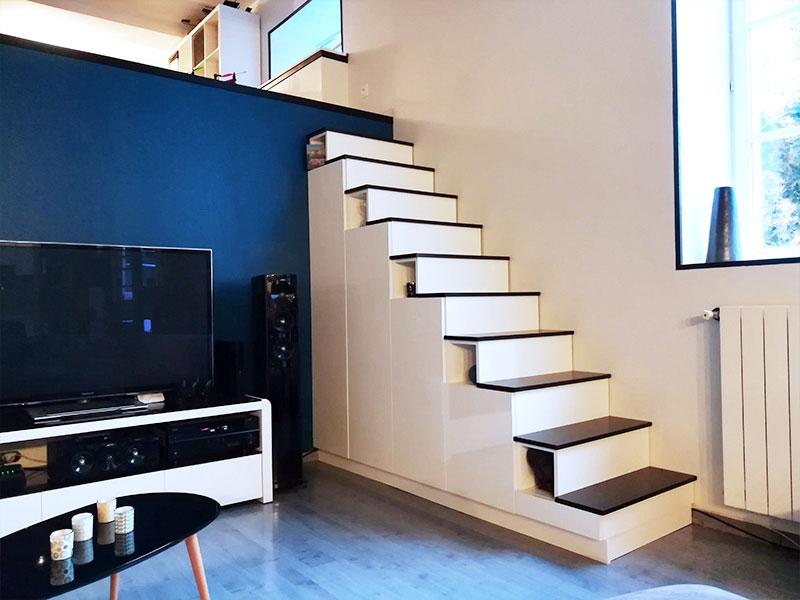 meuble escalier pour mezzanine sur mesure
