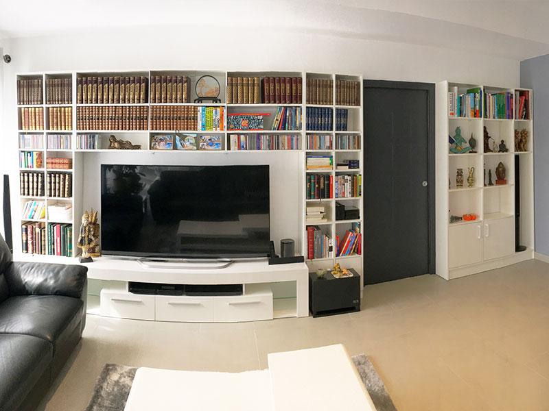 bibliotheque en pont sur mesure meuble TV