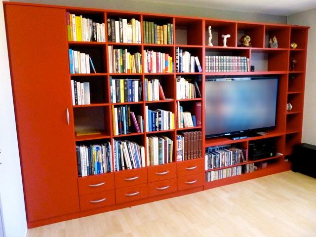 bibliotheque rouge sur mesure