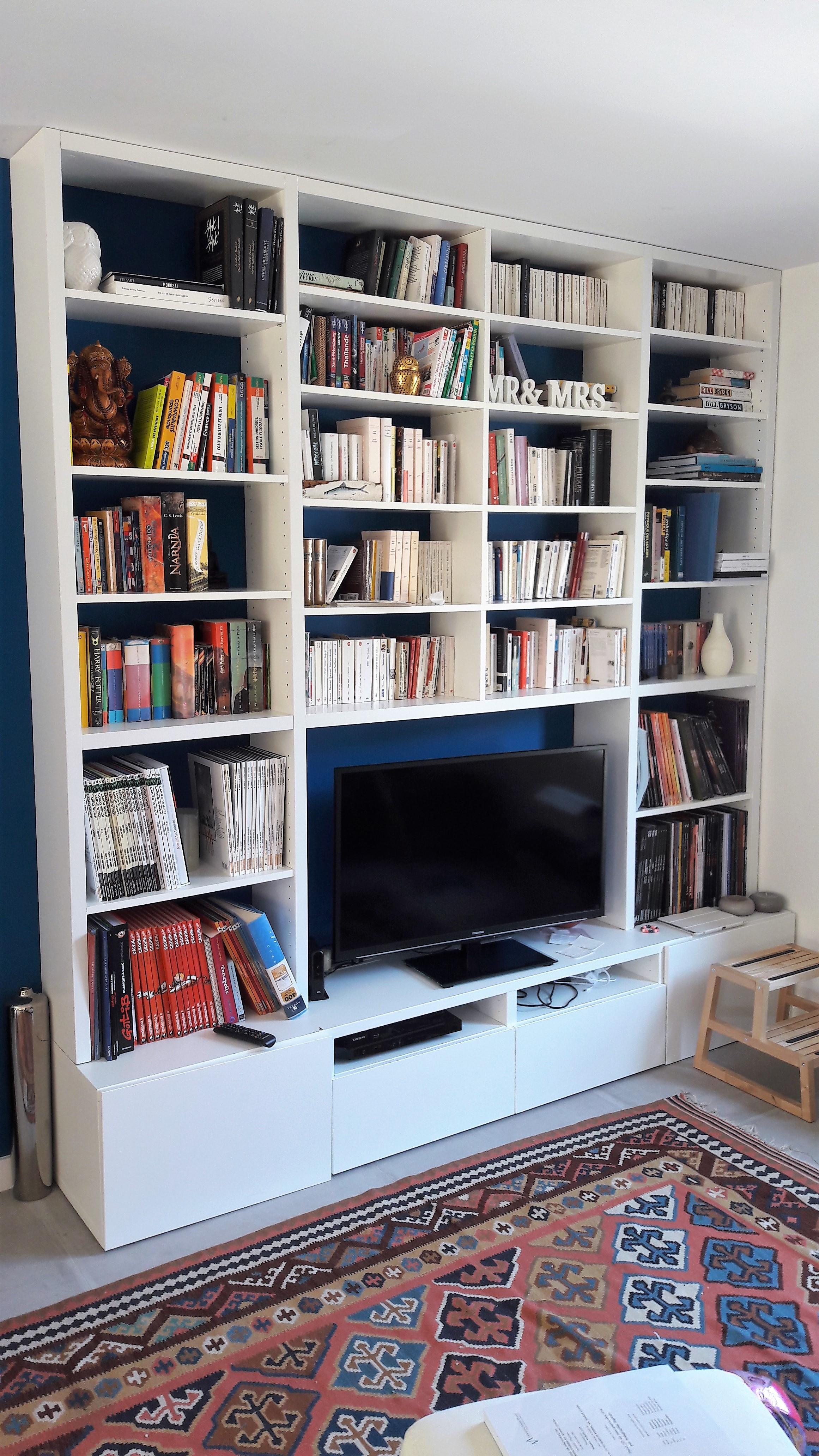 meuble support TV bibliothèque