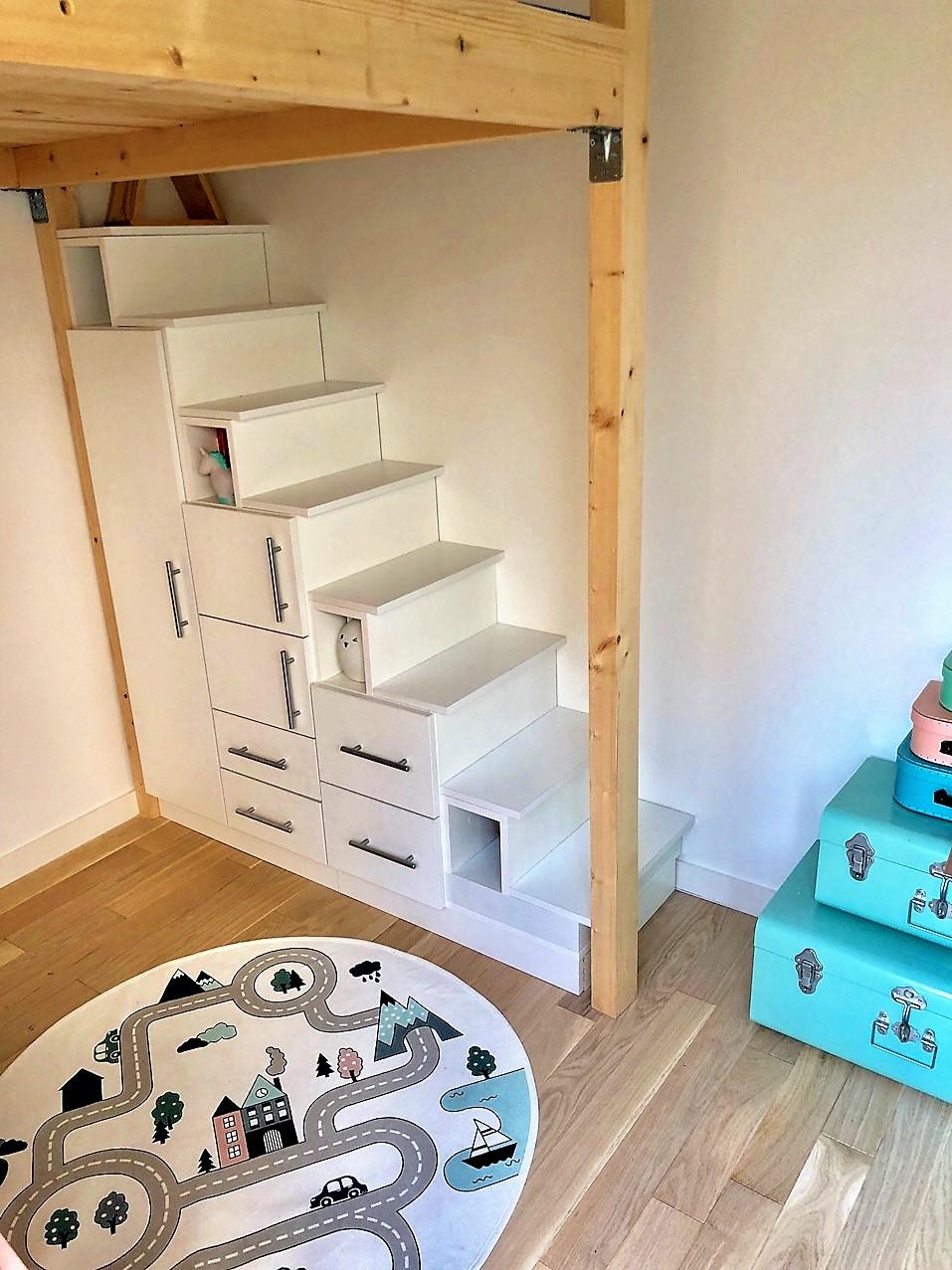 meuble escalier modulable blanc
