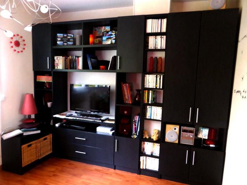 meuble TV sur mesure noir grand