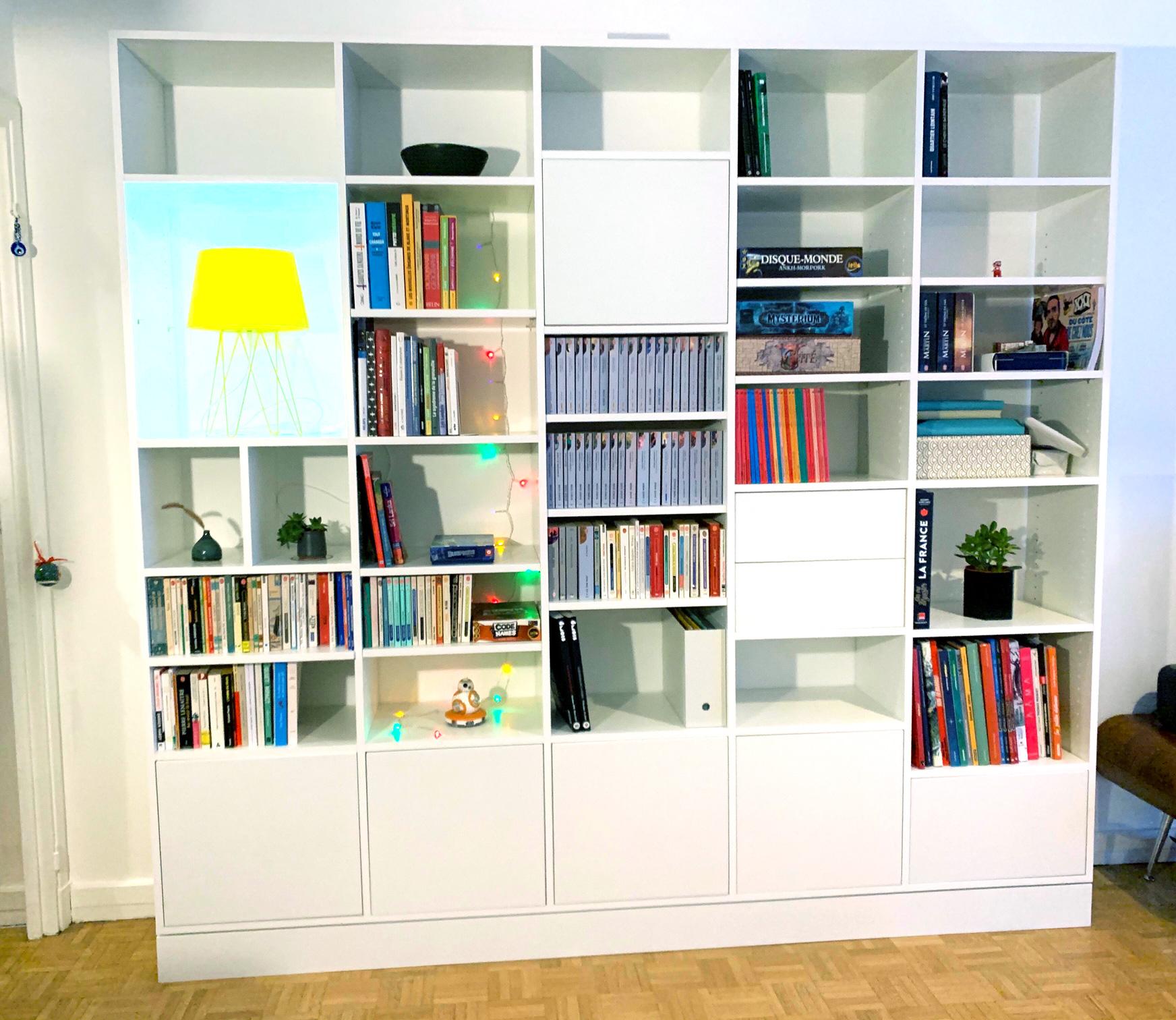 bibliotheque carre sur mesure