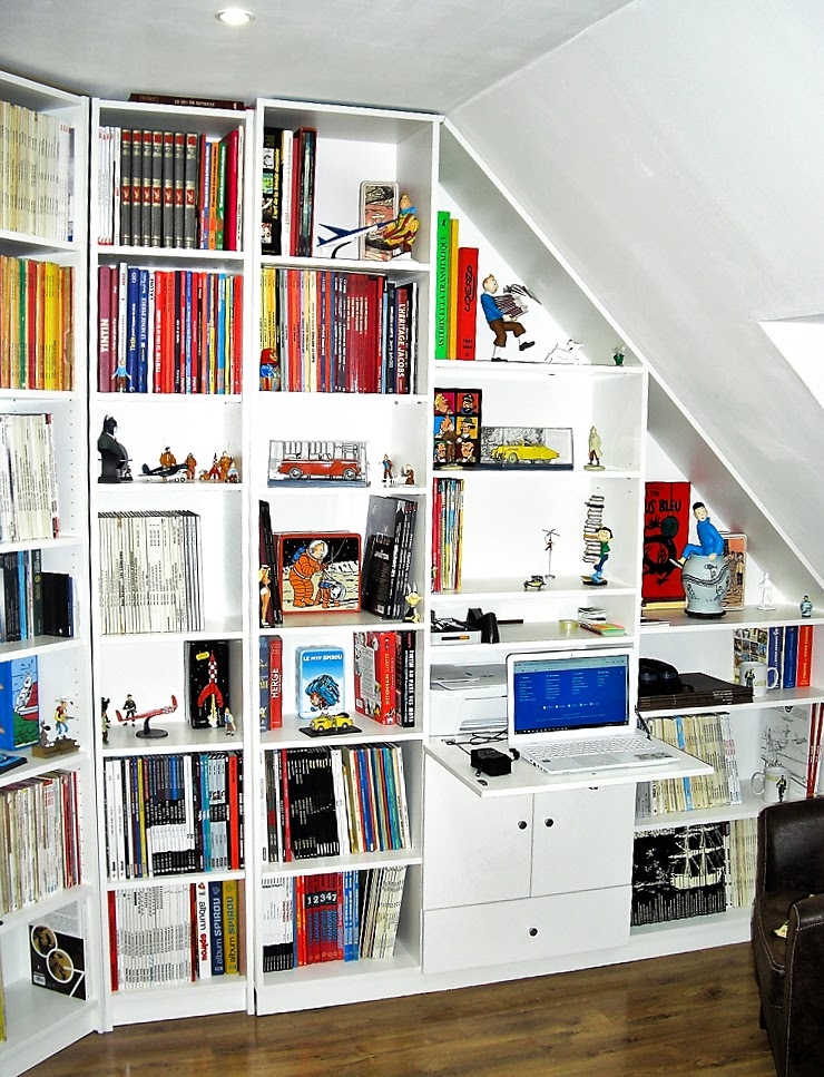bibliohèque meuble sous-pente bureau secretaire sur mesure