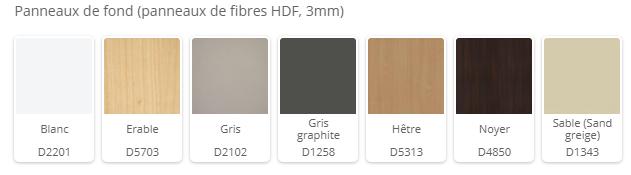 couleurs disponibles fonds 3mm