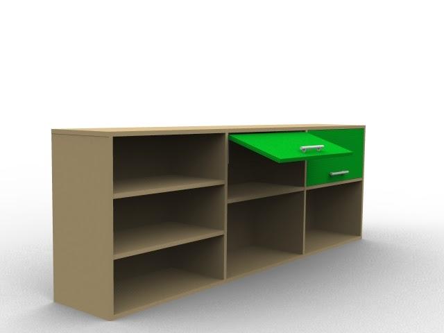 meuble bas bois et vert