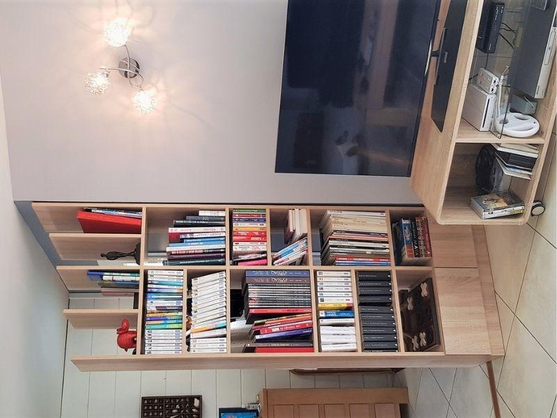 bibliothèque claustra en bois sur mesure