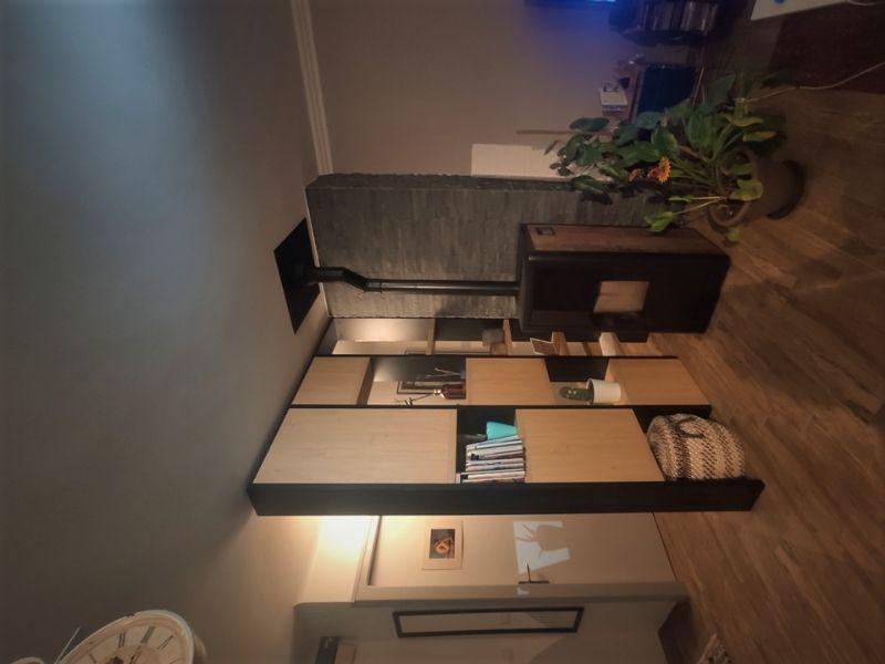 Meuble d'entrée claustra sur mesure bois et noir