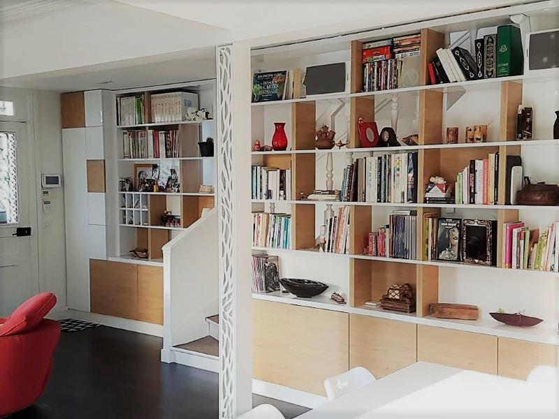Bibliothèque bois et blanc sur mesure