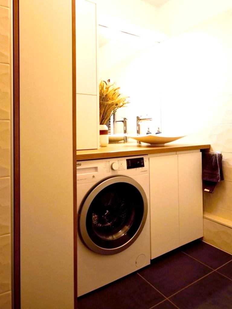 Meuble salle de bain blanc bois
