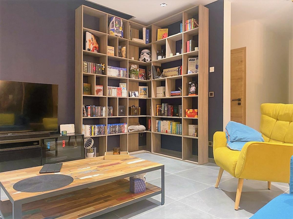 bibliothèque angle bois
