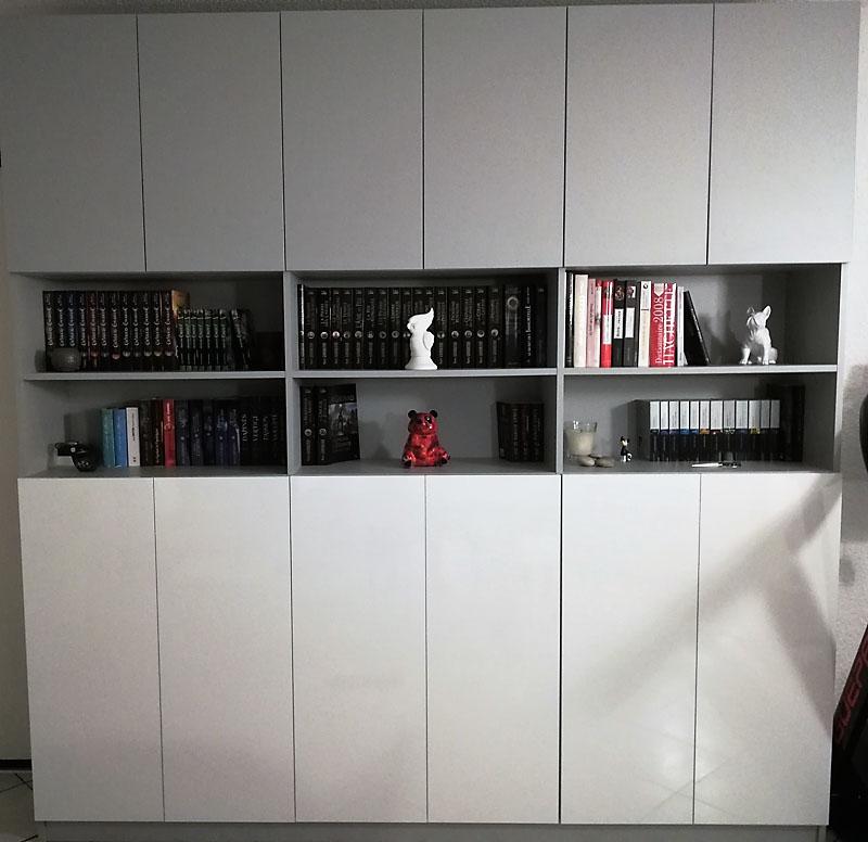 meuble rangements bibliothèque gris