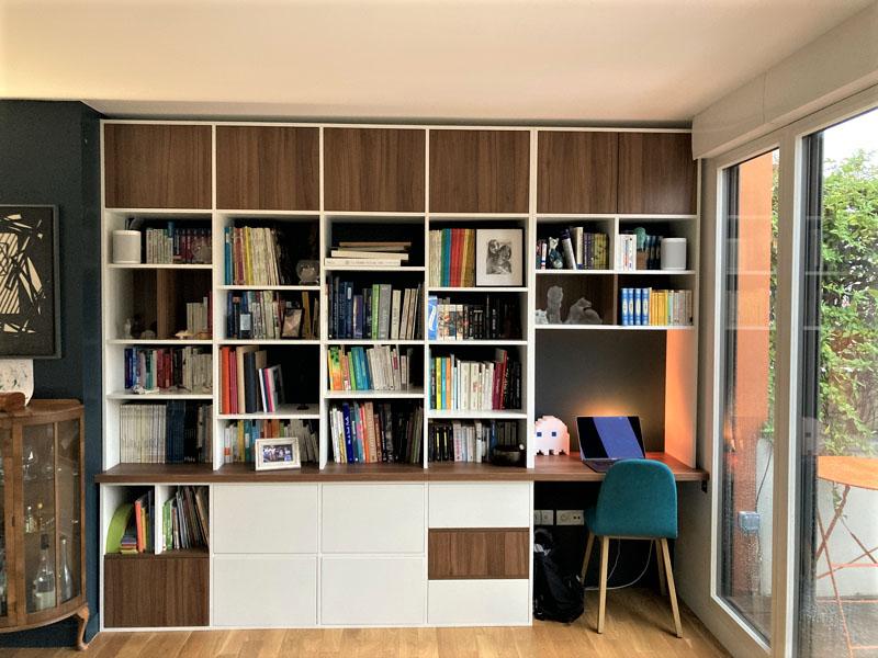 bibliothèque bureau blanc bois