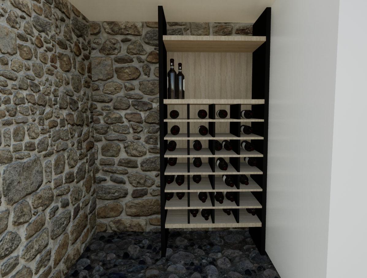 cave à vin noire et bois sous sol