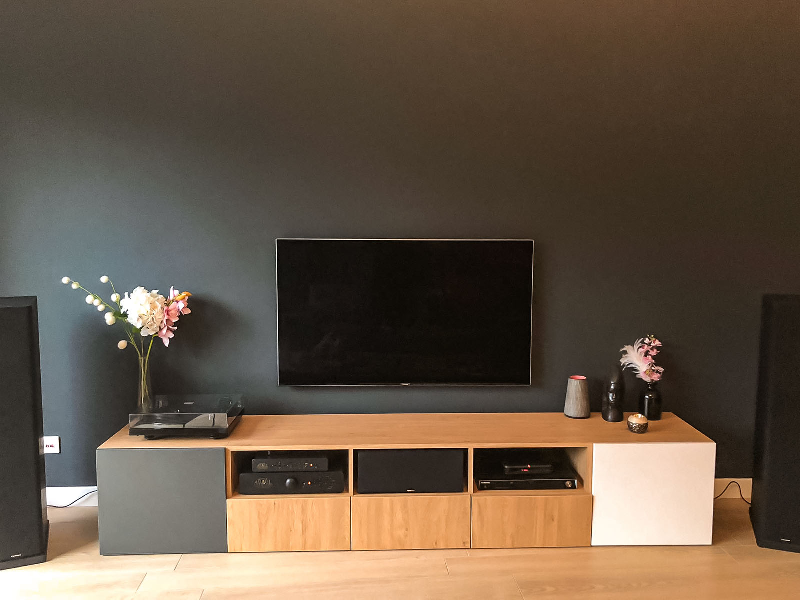 meuble tv bois blanc gris