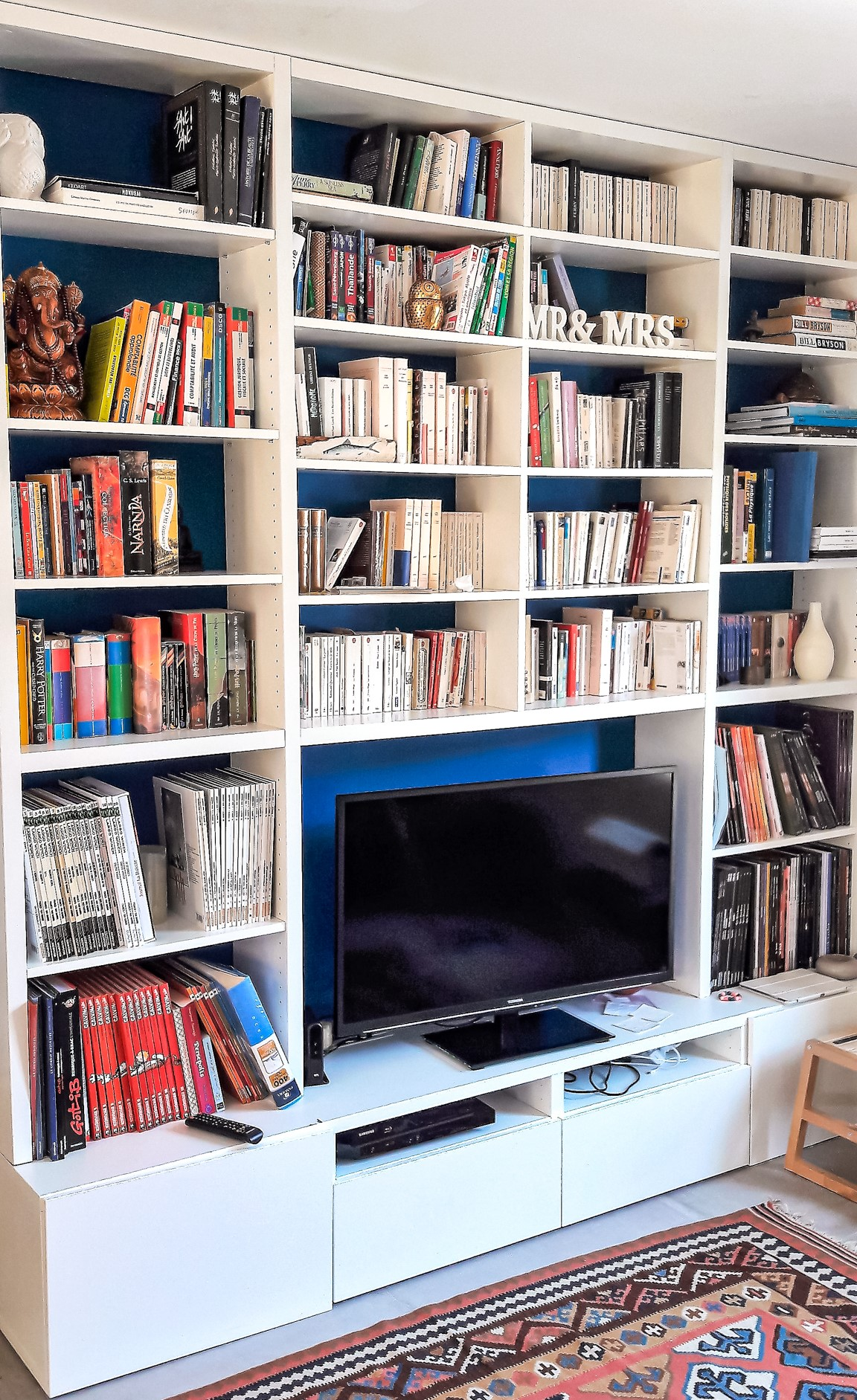 meuble tv bibliothèque blanc