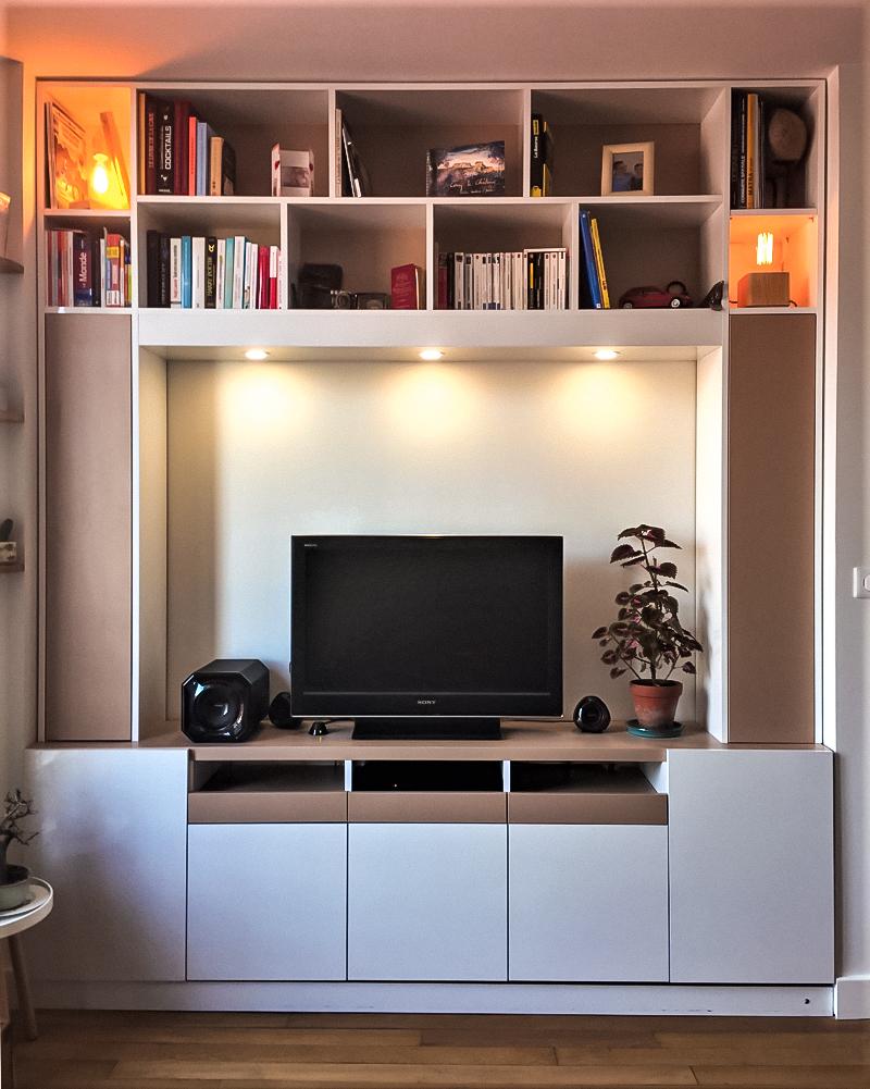 meuble tv encastré blanc bois