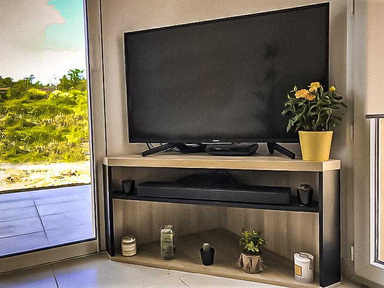 meuble TV d'angle bois et noir