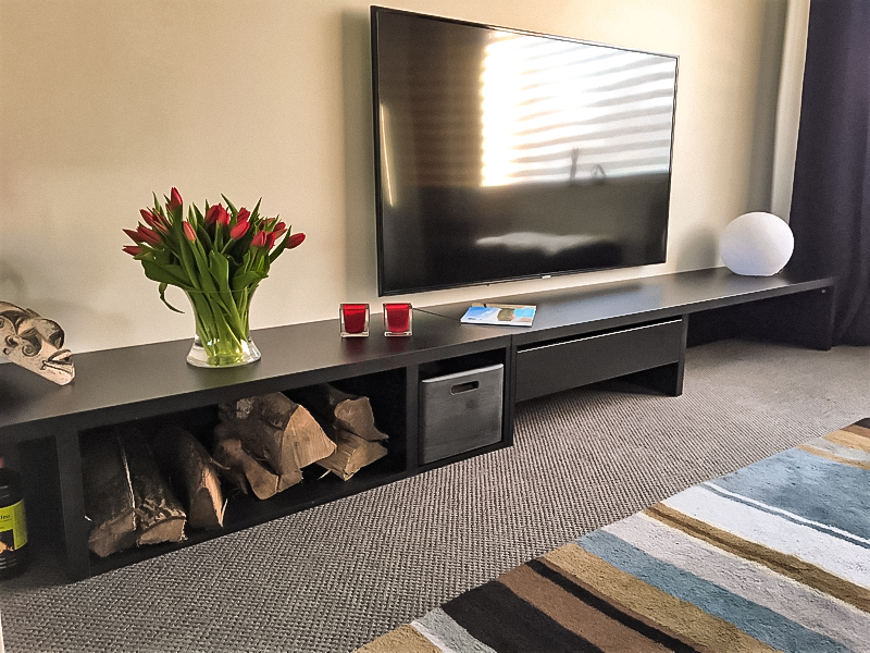 meuble tv long gris
