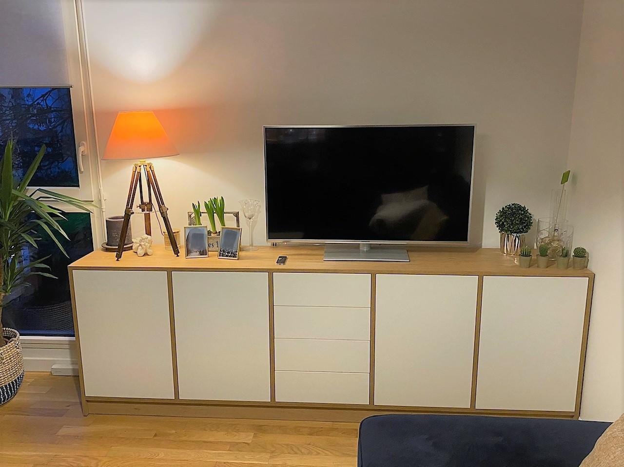 meuble tv commode blanc et bois