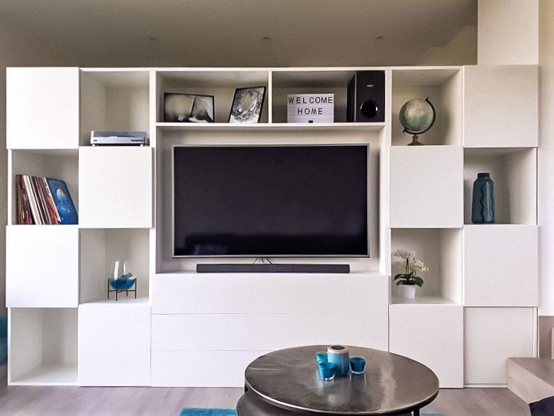 Meuble TV encastré blanc