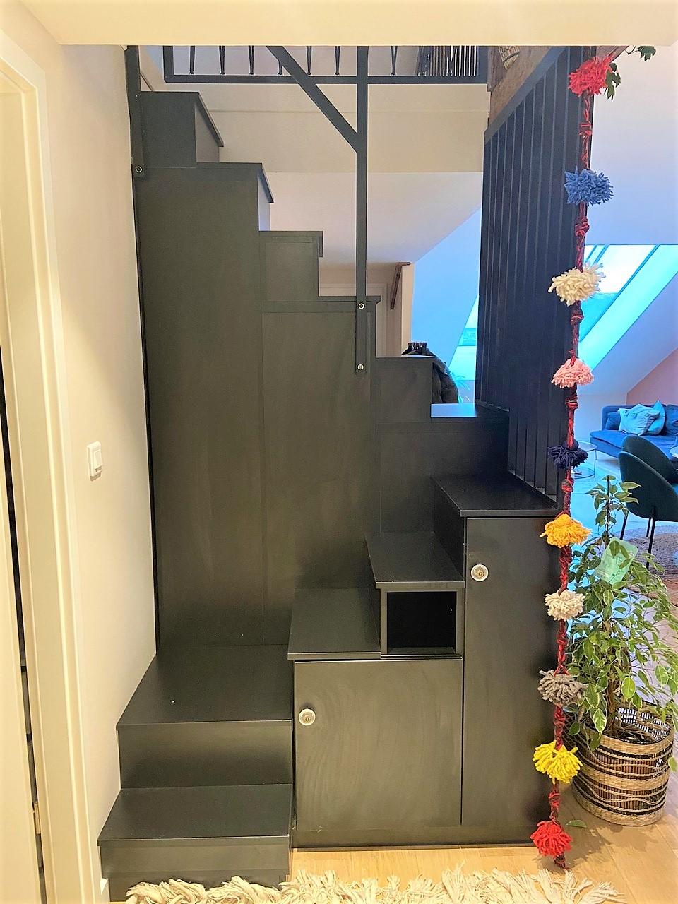 Meuble escalier double quart tournant noir
