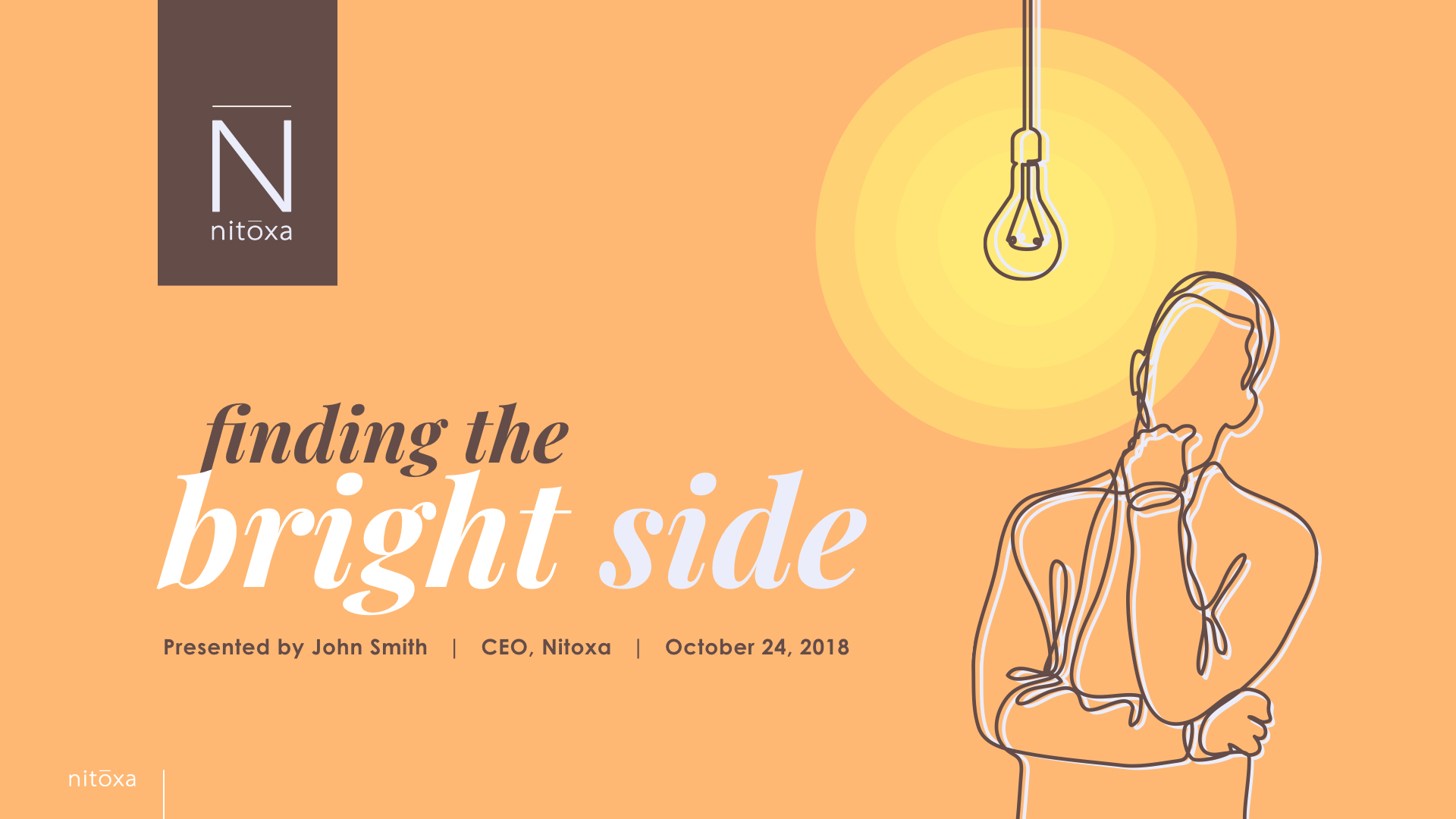 Slide Design for cover of motivational presentation showing illustration of CEO thinking with lightbulb over head
