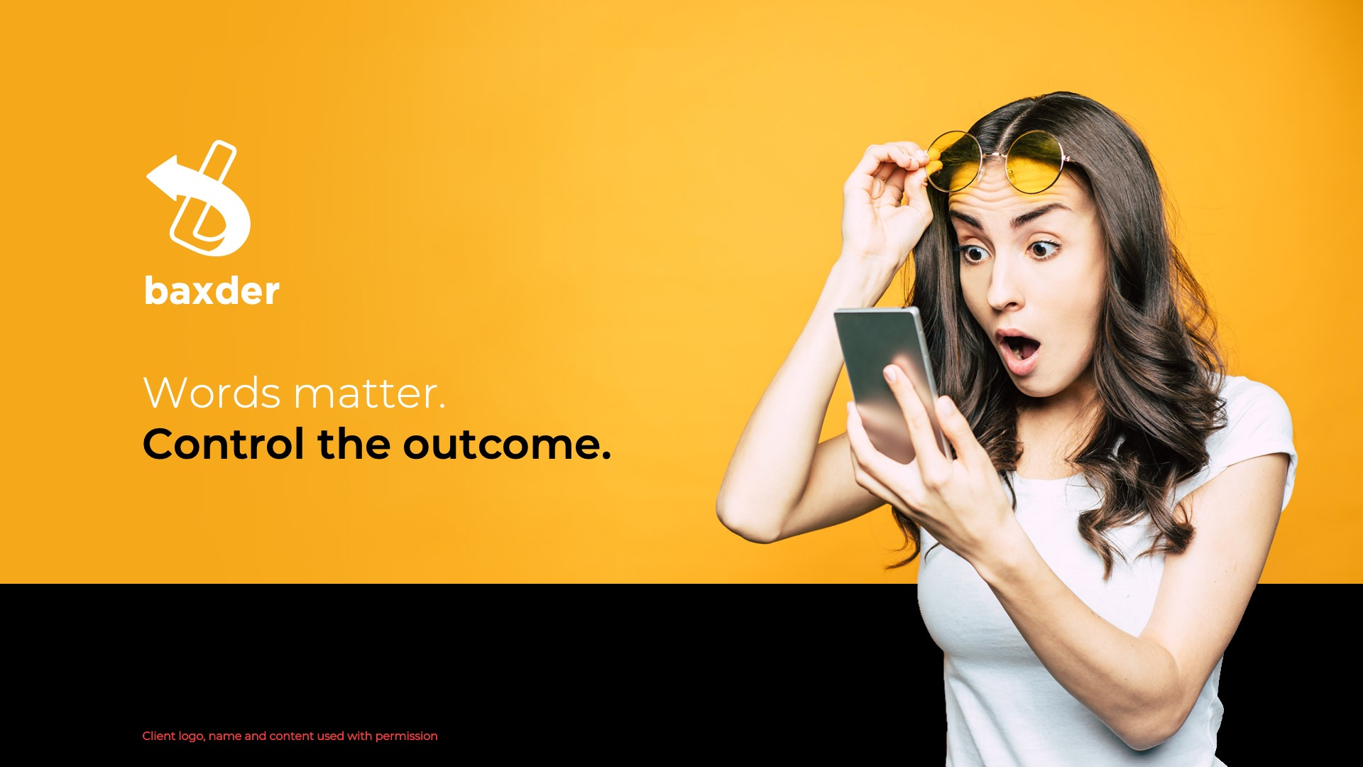 Slide Design Sample: Cover slide showing young woman looking at phone with shocked expression on face