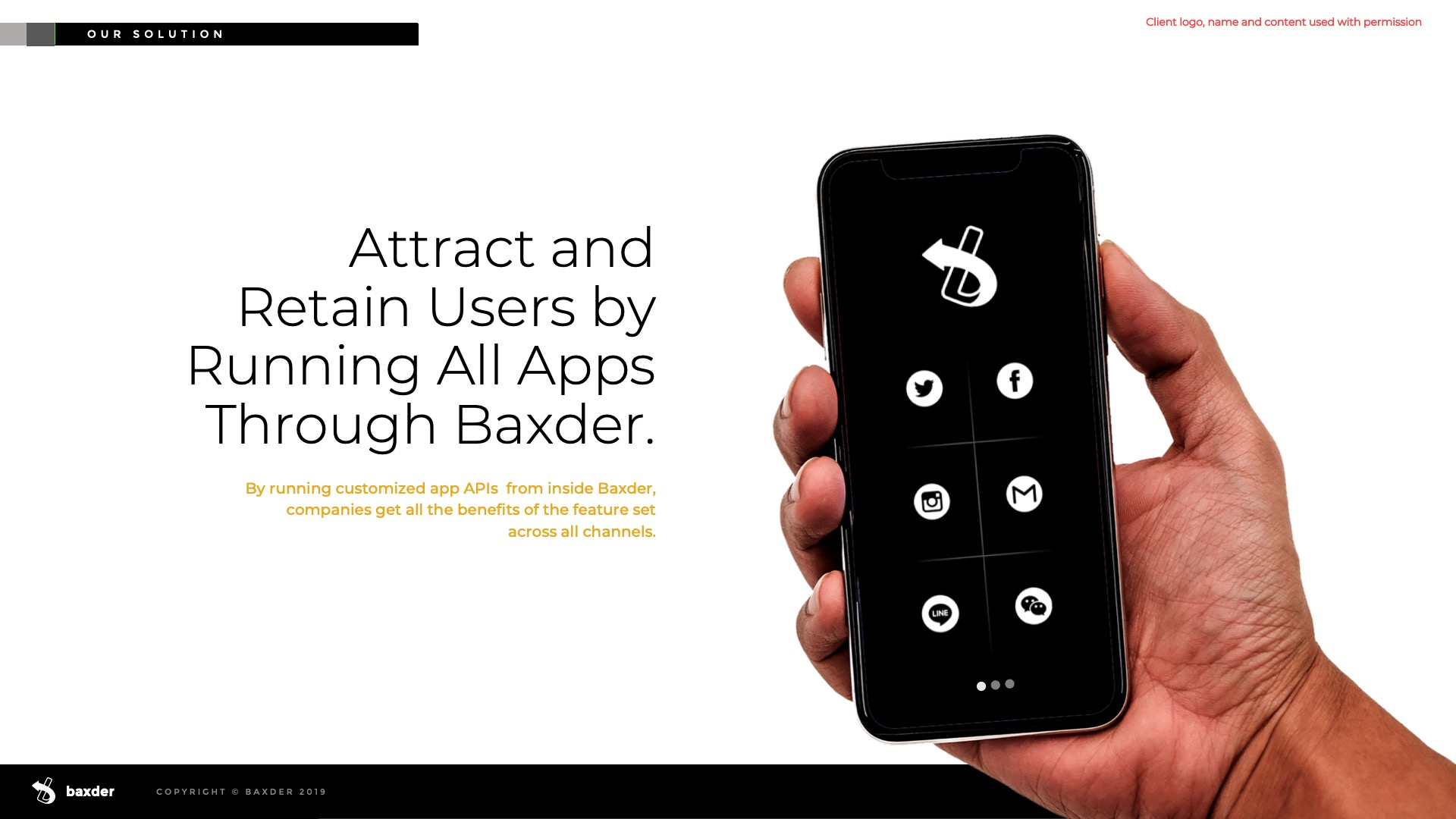 Slide Design Sample: Male hand holding phone showing app.
