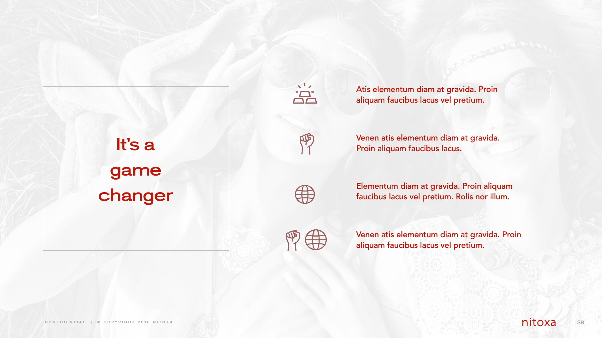 Slide Design Sample: four bullet points
