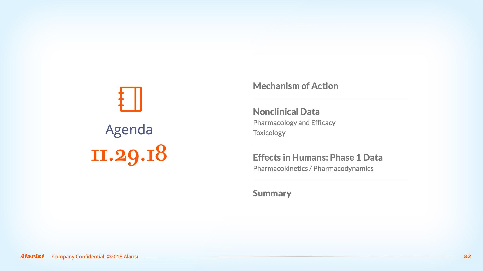 Slide Design sample: agenda slide