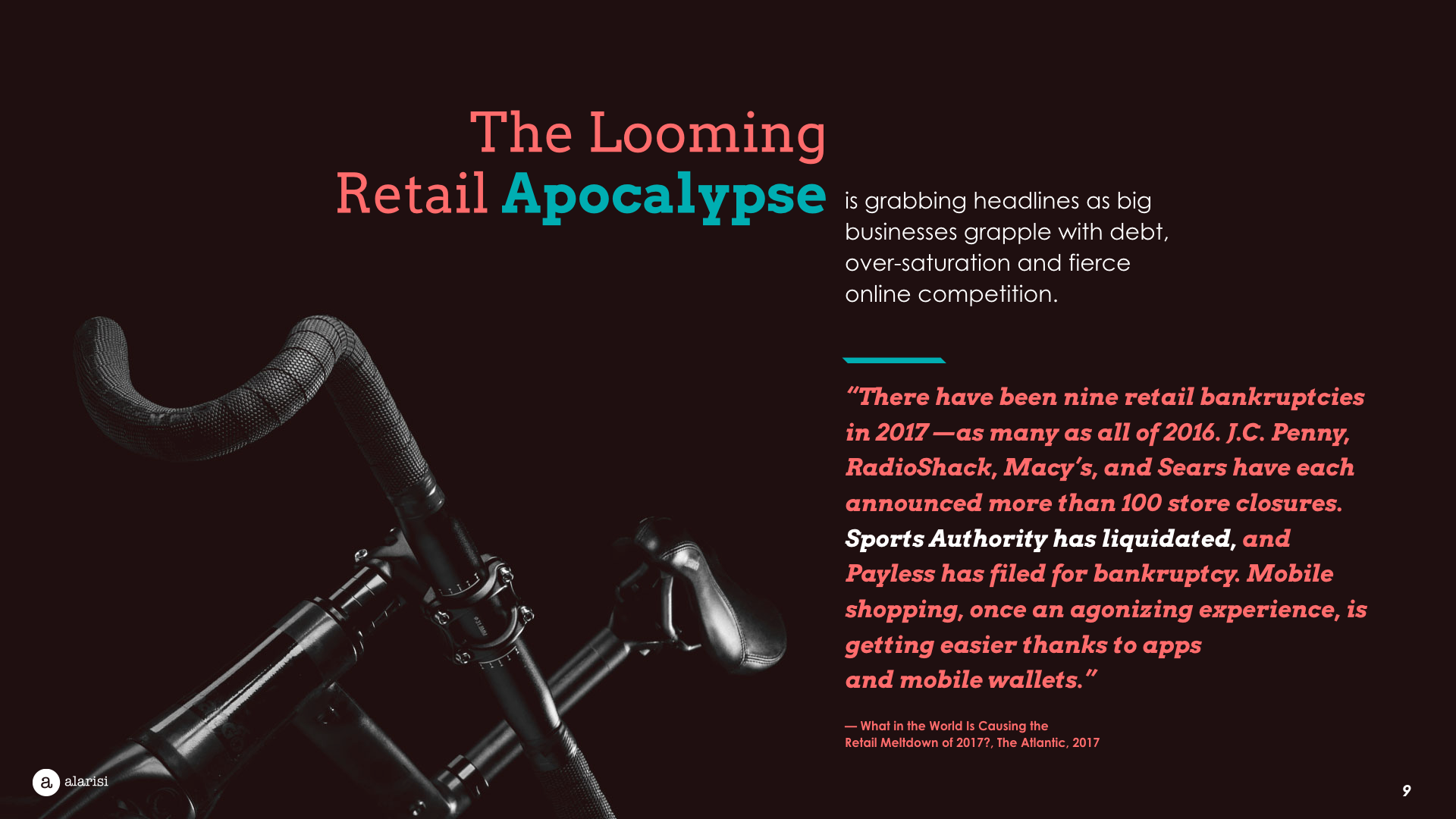 Slide Design sample: pic of bike with foreboding quote about retail sellers