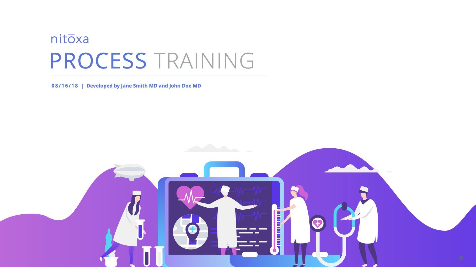 Slide Design sample: Cover illustration with doctors looking at medical imaging equipment