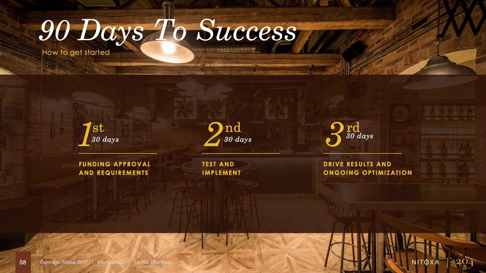 Slide design sample: 90 days to success broken down into 30 day increments