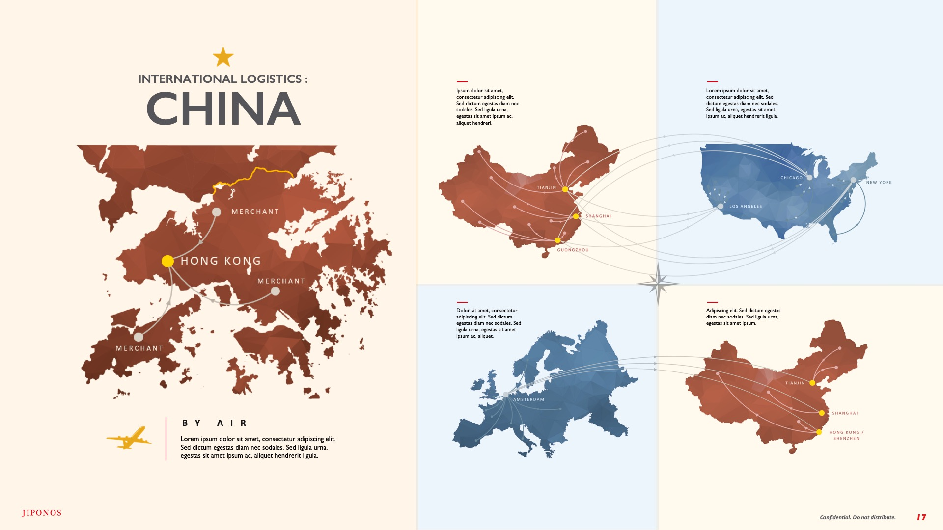 Slide Design Infographic for logistics between China, Europe and America