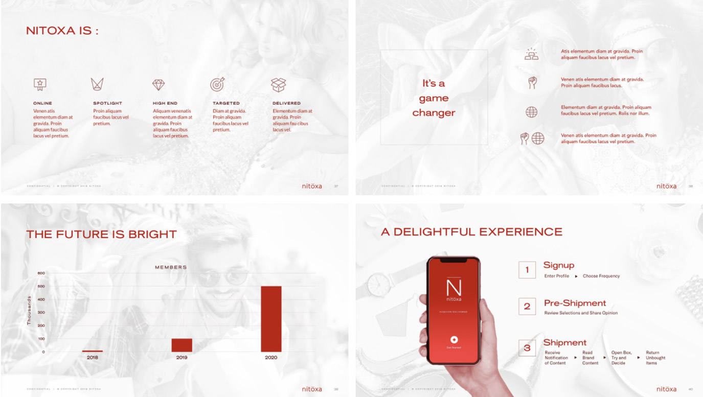 Slide Design sample: Four slides showing product and stats for online clothing site and app.