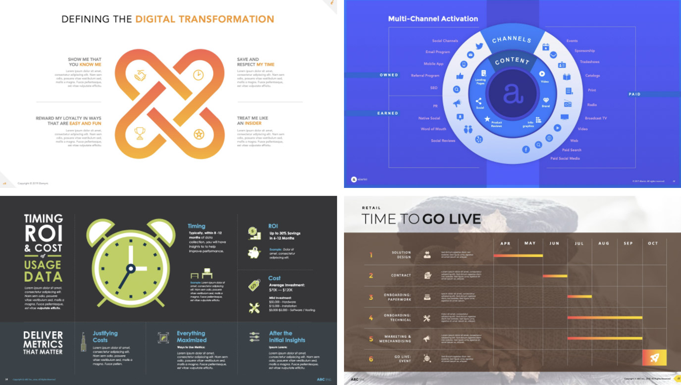 Slide Design sample: Four slides showing infographics