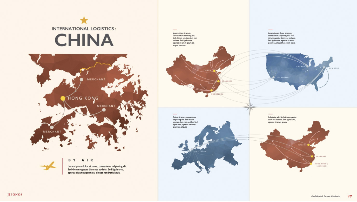 Slide design infographic for logistics between China, Europe and the US