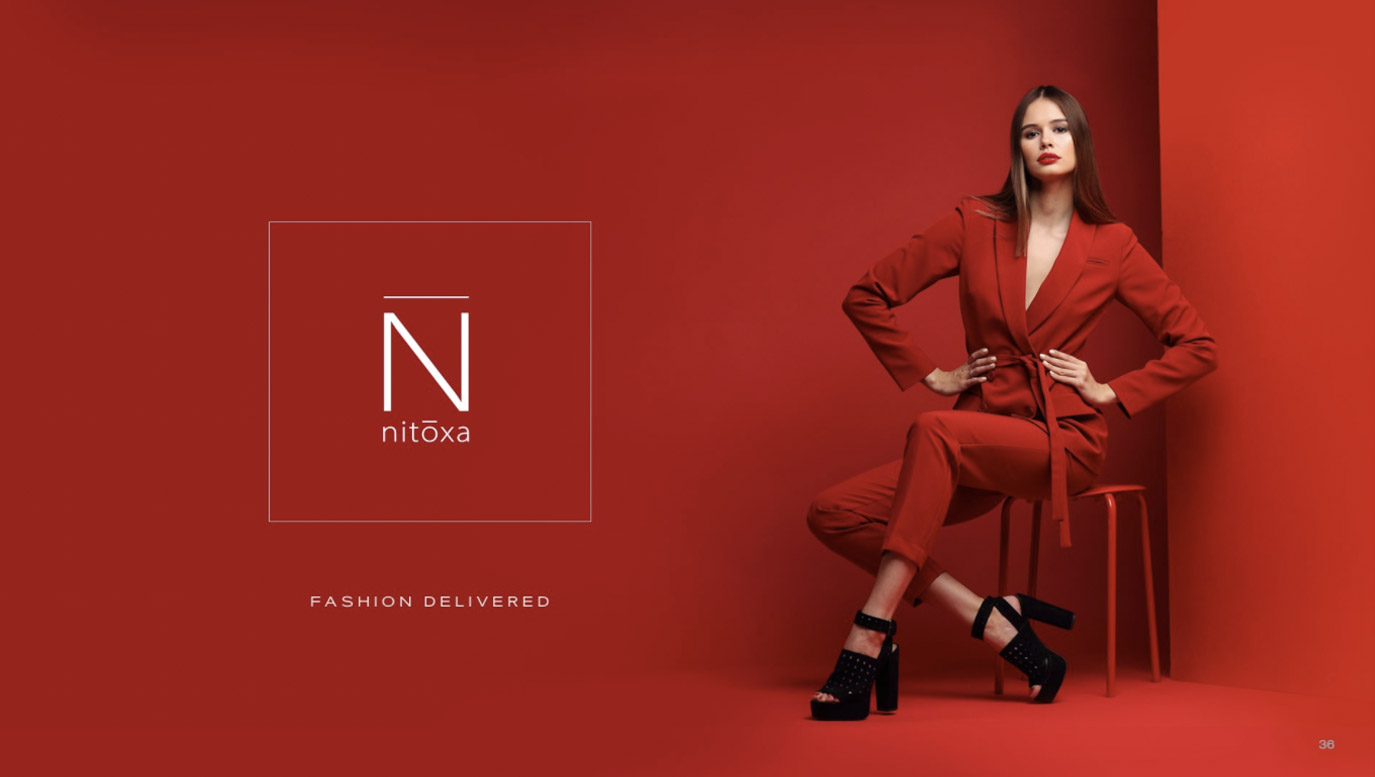Slide Design Cover for online fashion retailer showing woman in red