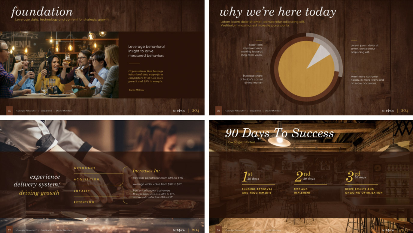 Slide Design sample: Four slides showing interior of bar / grill overlaid with marketing strategy graphics and stats