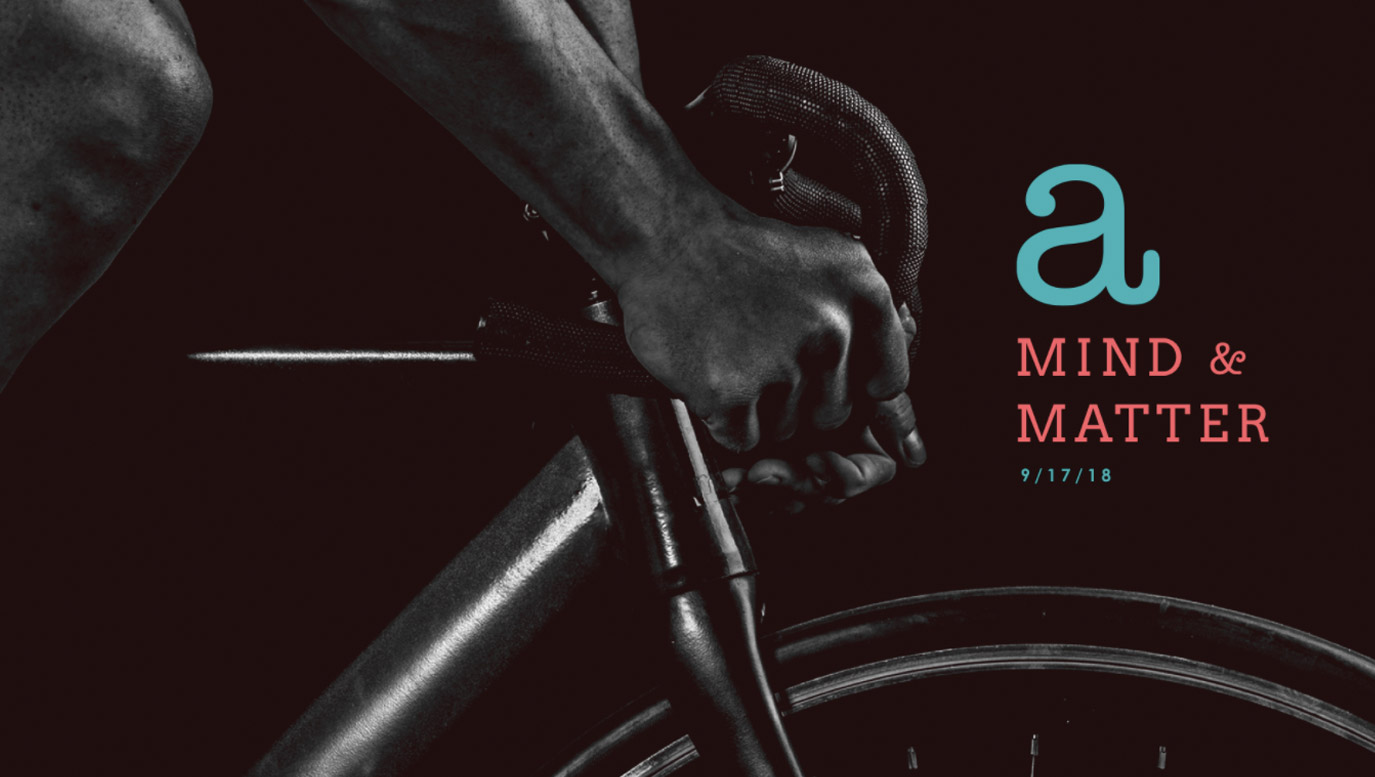 Slide Design sample: Cover slide showing cropped image of man on racing bicycle: hands and handlebar, plus one knee and top of front tire.