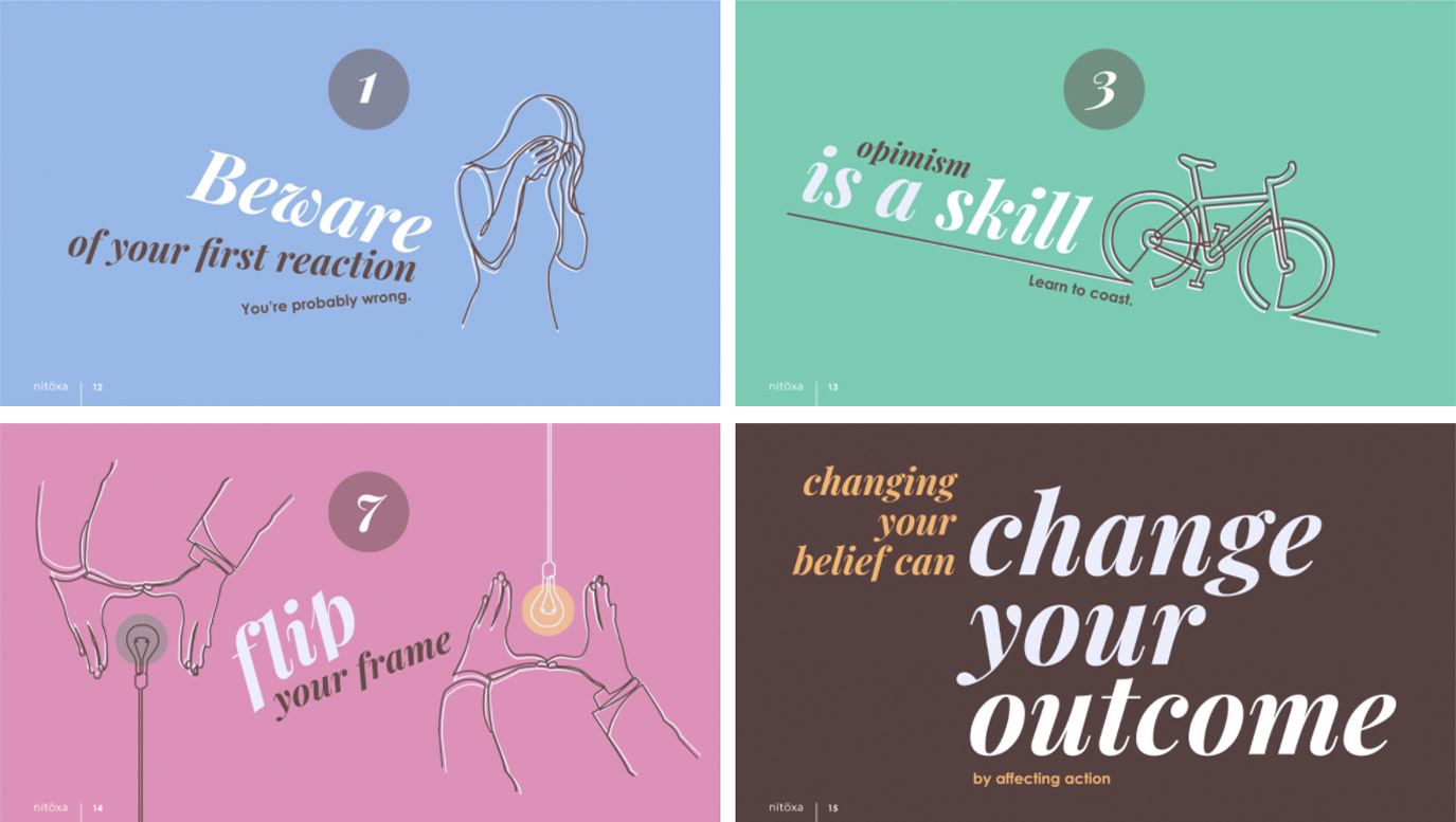 Slide Design sample: Fours slides showing minimal text, highlighting steps to change attitude and get things done.